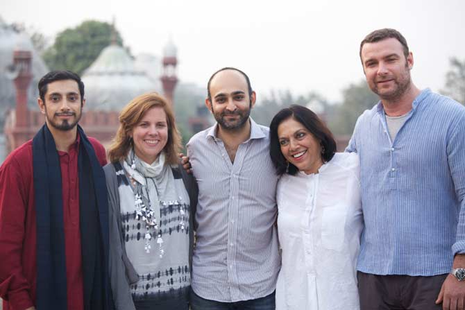 "The cast and crew of ""The Reluctant Fundamentalist"" with author Mohsin Hamid – Photo courtesy Mirabai Films"