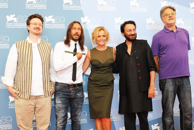 (From L) The Opera Prima jury, Matt Reeves, Bob Sinclar, Isabella Ferrari Preident Shekhar Kapur and Michel Demopoulos pose during a photocall at the festival.