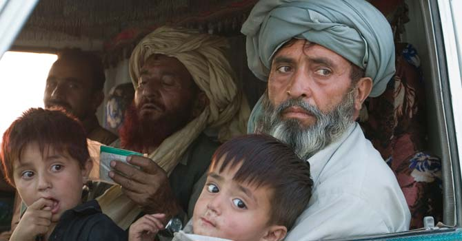 Internally Displaced Persons from the Waziristan tribal region leave their homes in 2009. – File photo by AP