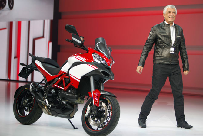 Ducati CEO Gabriele Del Torchio arrives for a speech at the Volkswagen Group Night, in Paris, Wednesday Sept. 26, 2012.