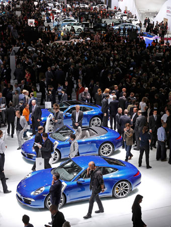 A general view shows one of the exhibition rooms at the Paris Mondial de l'Automobile. – Photo by Reuters