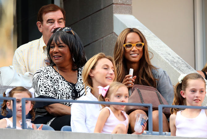 Tyra Banks watches the women's singles final match on Day Fourteen of the 2012 US Open.