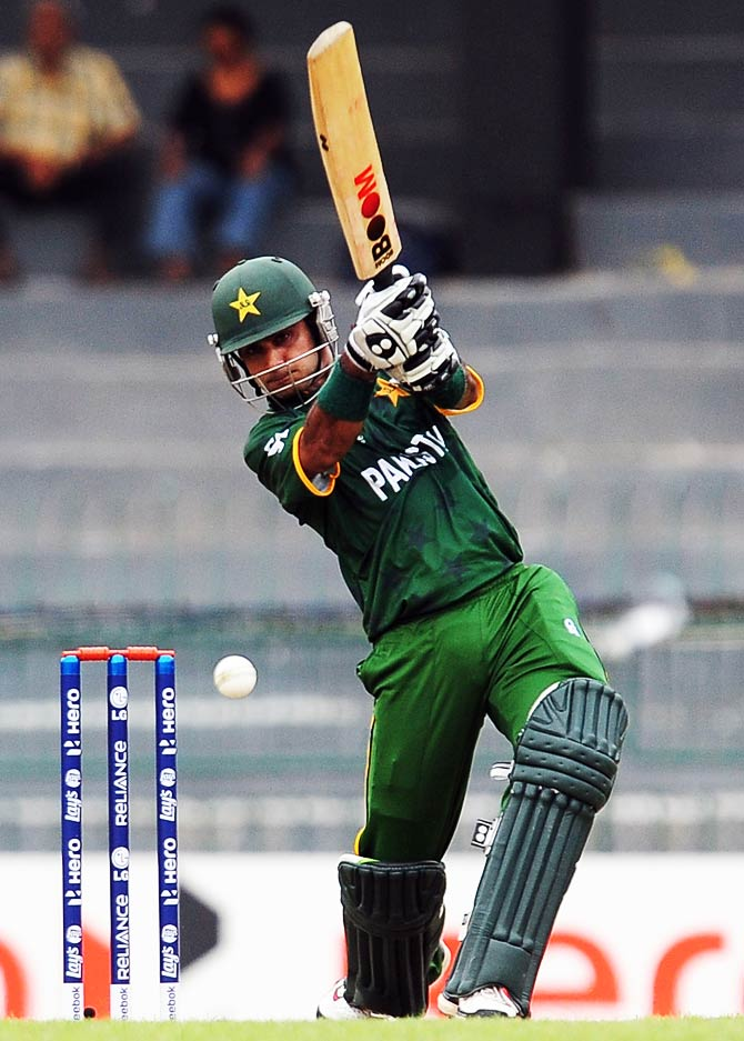 Pakistan cricket captain Mohammad Hafeez plays a shot during. ? Photo by AFP