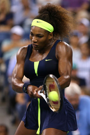 Serena Williams of the United States returns a shot during her women's singles quarterfinal match against Ana Ivanovic of Serbia on Day Ten of the 2012 US Open at USTA Billie Jean King National Tennis Center on September 5,