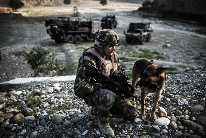 A French soldier crouches beside a dog before the passing of a convoy. ? Photo by AFP