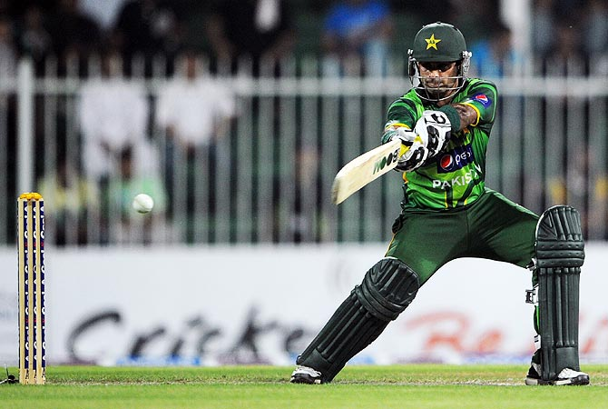 Mohammad Hafeez plays a shot. -Photo by AFP