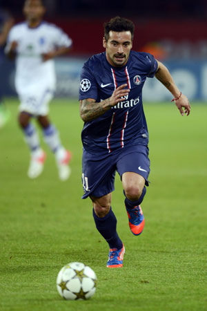 Paris Saint-Germain's Argentine forward  Ivan Lavezzi  vies during the UEFA Champions League in Paris. ? Photo by AFP