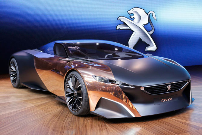 A Peugeot Onyx concep-car is displayed on media day at the Paris Mondial de l'Automobile. – Photo by Reuters