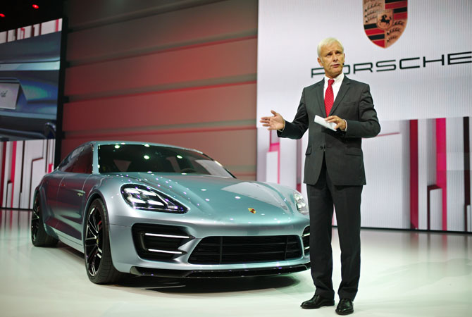 Porsche AG President and CEO Matthias M?ller speak at the Volkswagen Group Night, in Paris, Wednesday Sept. 26, 2012.
