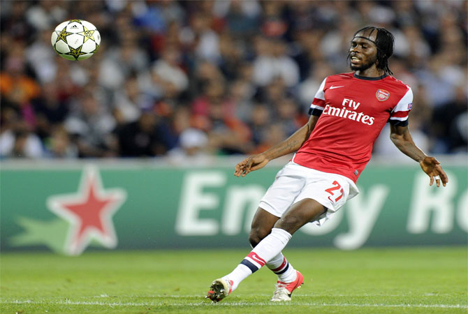 Arsenal's Ivorian forward Gervinho kicks the ball during the UEFA Champions League football match Montpellier Herault SC vs Arsenal. ? Photo by AFP