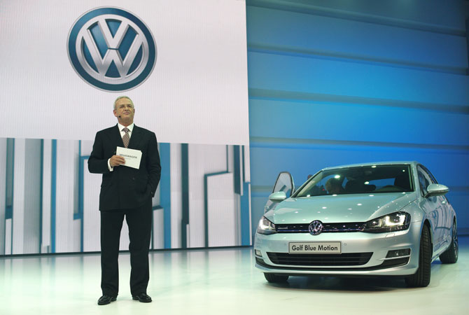 Volkswagen CEO Martin Winterkorn speaks at the Volkswagen Group Night, in Paris.