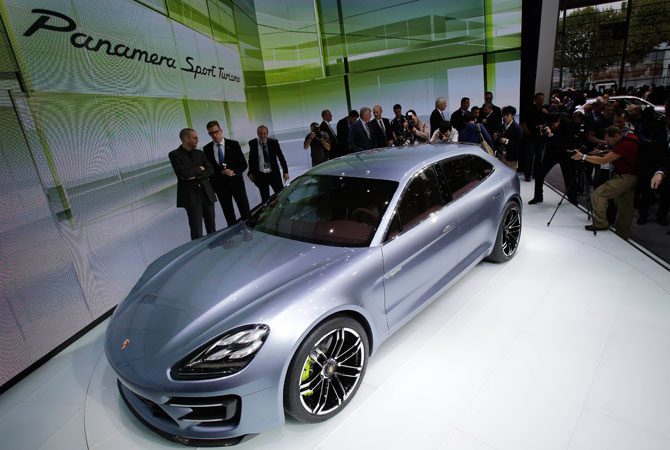 The new Porsche Panamera Sport Turismo concept car is displayed during media day at the Paris Auto Show, France. – Photo by AP
