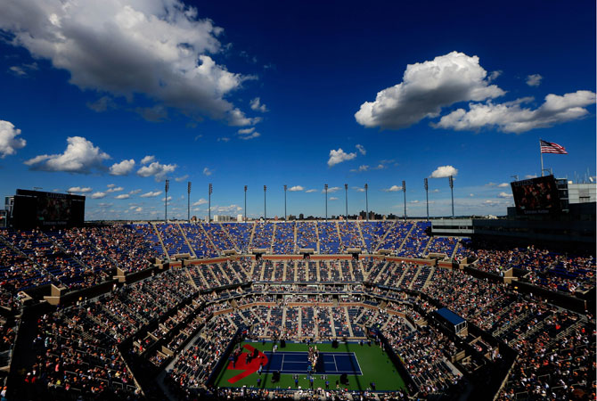 A general view of Arthur Ashe Stadium is seen as a ceremony honoring Andre Agassi's induction into the Court of Championships takes place on Day Fourteen of the 2012 U.S. Open.