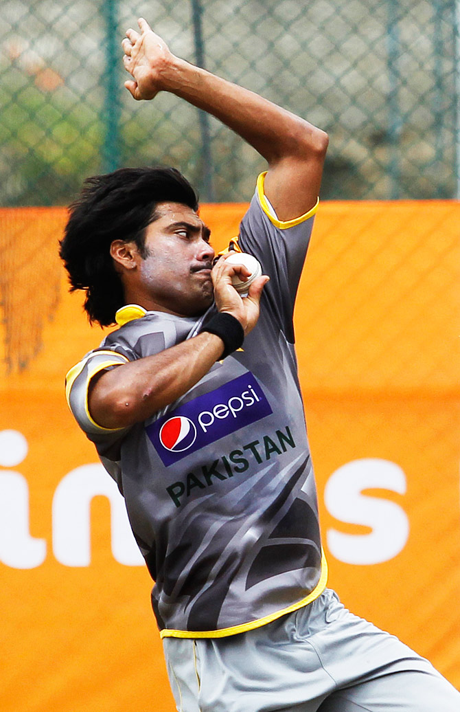Mohammad Sami bowls during the practice session. ? Photo by AFP
