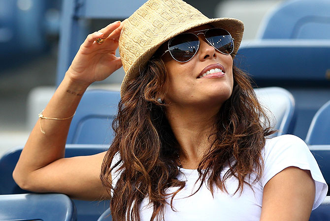 Eva Longoria attends the women's singles semifinal match between Serena Williams of the United States and Sara Errani of Italy. -Photo by AFP
