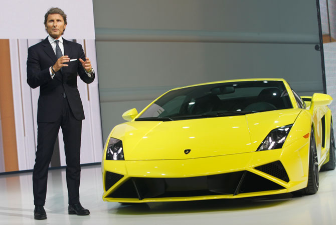 Lamborghini CEO Stephan Winkelmann speaks at the Volkswagen Group Night.