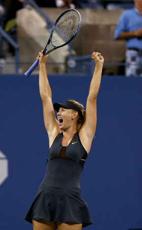 Maria Sharapova of Russia celebrates her match win over Nadia Petrova of Russia during Day Seven of the 2012 US Open.