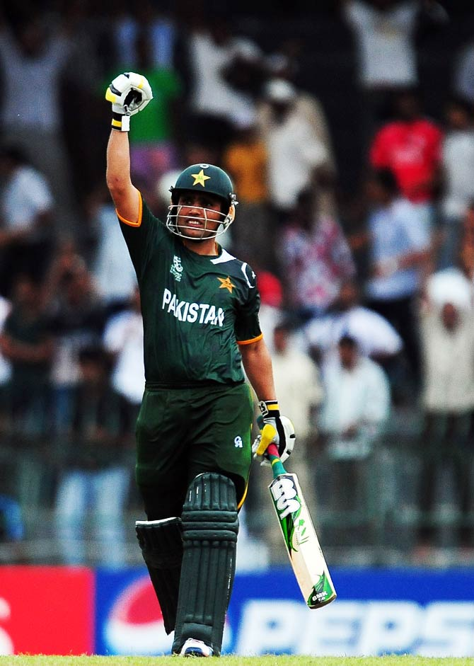Kamran Akmal celebrates after his teams victory during. ? Photo by AFP