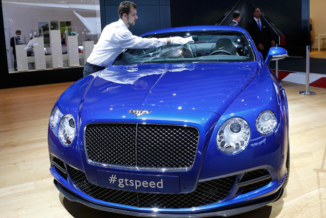 A Bentley GT Speed is displayed on media day at the Paris Mondial de l'Automobile. – Photo by Reuters