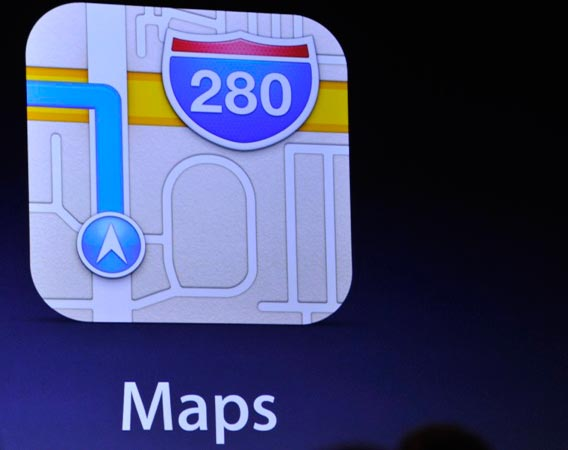 The new Apple Maps application is shown on a screen. - Photo by AP