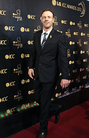 South African cricket captain AB De Villiers arrives for the ICC Awards 2012. -Photo by AP