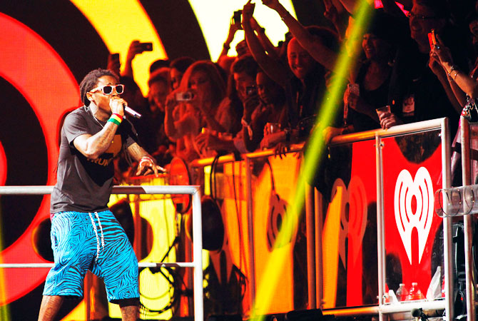 Rapper Lil Wayne performs.