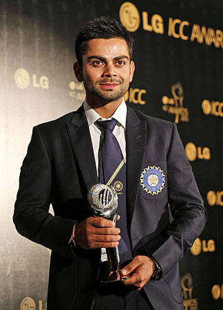 India's cricketer Virat Kholi poses with the ICC Men's ODI Cricketer of the Year award. -Photo by AP