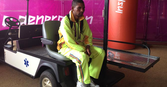 Dejected Pakistani Paralympic athlete Naeem Masih at the Olympic Park after his 1500m heats – Photo courtesy National Paralympic Committee