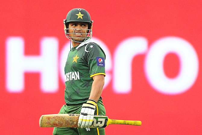 Kamran Akmal reacts after his dismissal. -Photo by AFP