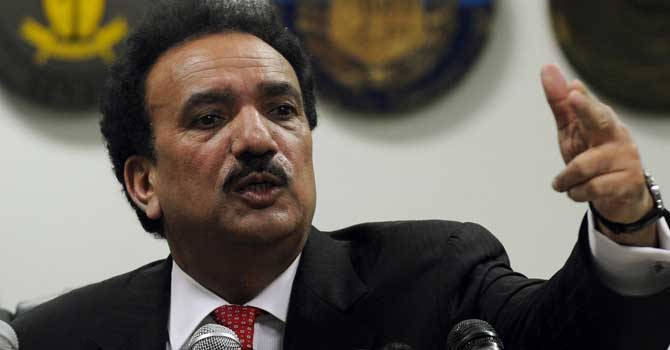 Minister for Interior Rahman Malik – File photo by AFP