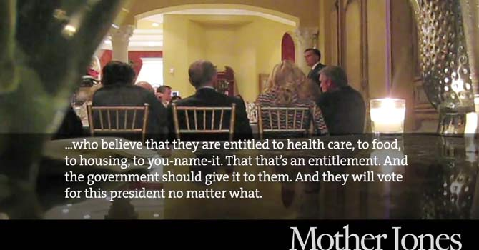In this video framegrab from a May 17, 2012 video provided by Mother Jones Video, Republican presidential candidate Mitt Romney speaks at a $50,000-a-plate fundraiser at a Florida fundraiser.  — Photo by AP via Mother Jones video
