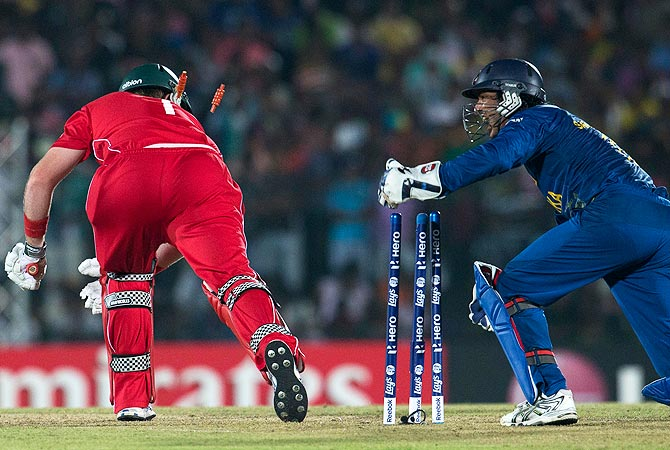Sri Lanka's wicket keeper Kumar Sangakkara, right removes the bails to dismiss Zimbabwe's captain Brendan Taylor. -Photo by AP