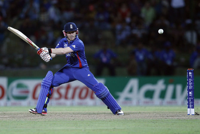 England's Eoin Morgan plays a shot against West Indies.