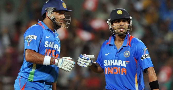 Yuvraj Singh scored 34 runs in his first match back for India after recovering from cancer, while Virat Kohli scored 70 as India lost by one run. – Photo by AFP