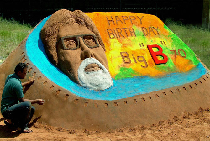Artist Rajesh Muliya creates a sand sculpture of Bollywood's biggest star Amitabh Bachchan a day ahead of his 70th birthday, in Thangadh, India, Wednesday, Oct. 10, 2012. ? Photo by AP
