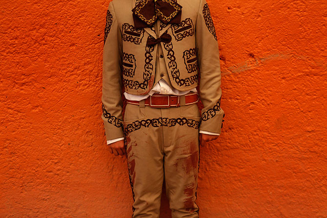 Apprentice bullfighter Mario 'mayito' Bueno, 13, poses for a photograph during an Under 14 Apprentice Bullfighting competition at the Arroyo bullring in Mexico City September 8, 2012.