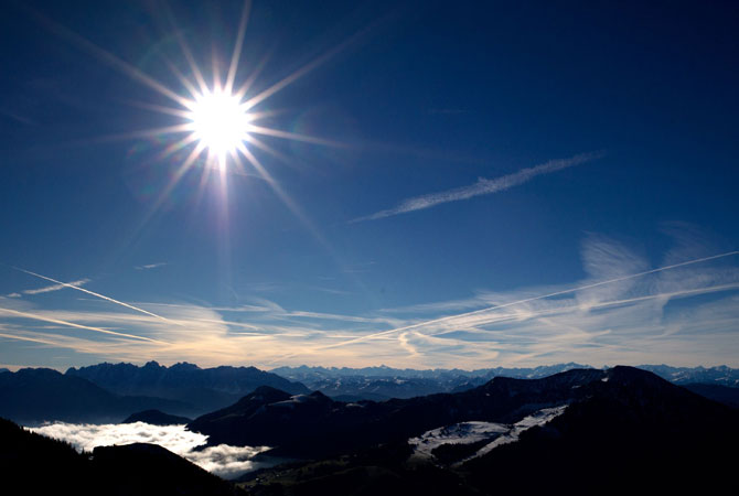 Sun shines over an Alps panorama, seen from the Wendelstein mountain near Bayrischzell, southern Germany. ? Photo by AFP