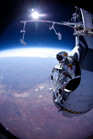 Felix Baumgartner prepares to jump during the first manned test flight for Red Bull Stratos over Roswell, N.M. On Monday, Oct. 8, 2012 over New Mexico, Baumgartner will attempt to jump higher and faster in a free fall than anyone ever before and become the first skydiver to break the sound barrier. ? Photo by AP