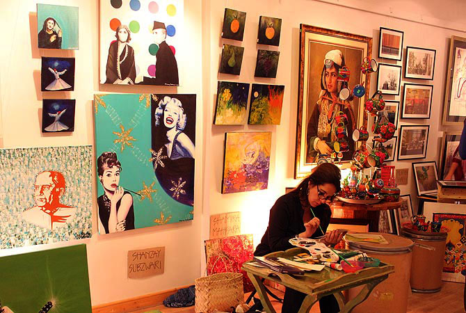 A view of the art pop ups at Jumma Hafta Art Bazaar. — Photo by Shameen Khan/Dawn.com