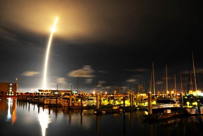 A 71-second exposure as seen from Port Canaveral after SpaceX's Falcon 9 rocket successfully lifted off. – Photo by AP
