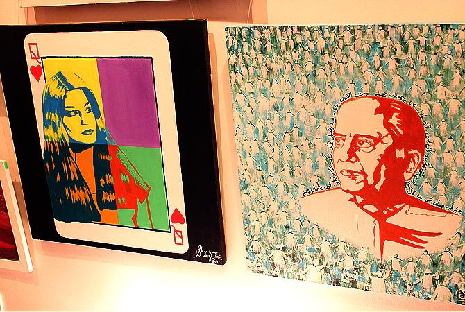 (L) A painting of music artist Nazia Hasan and (R) Writer/ Poet Faiz Ahmed Faiz by Shanzay Sabzwari. — Photo by Shameen Khan/Dawn.com