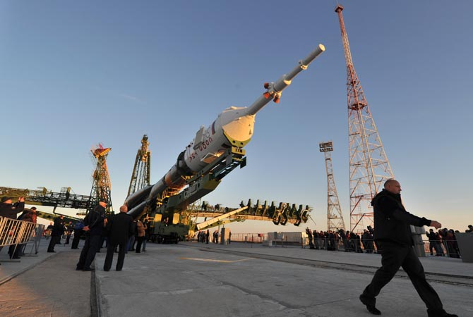 The Soyuz TMA-06M spaceship is mounted on a launch pad at the Russian leased Kazakh Baikonur cosmodrome. The launch of the next ISS crew including US astronaut  Kevin Ford, Russian cosmonauts, Oleg Novitskiy and Evgeny Tarelkin is scheduled on October  23. ?AFP Photo
