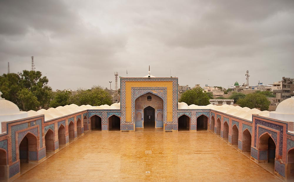 A view of the mosque courtyard and prayer area. This mosque was built by Mir Abdullah on the orders of Mughal emperor Shah Jahan and is a masterpiece of Mughal architecture. - Photo by Nadir Siddiqi/Dawn.com
