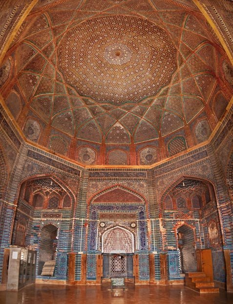The main Mihrab of the mosque in its front hall from where the prayers are led. It is said that Shah Jahan built this mosque as a gesture of gratitude to the people of Thatta for sheltering him during his youth after his father, Emperor Jahangir banished him from Delhi. [Image is a stitch of 5 photographs] - Photo by Nadir Siddiqi/Dawn.com