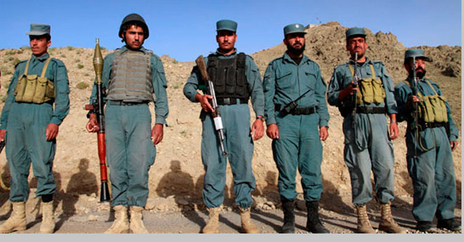 This file photo shows members of the Afghan police. - File Photo