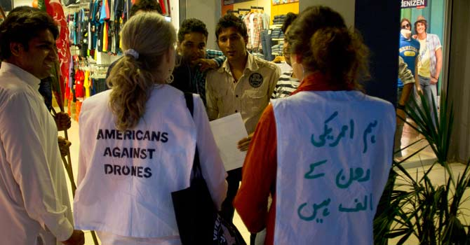 American citizens invite people to join anti-drone rally to Pakistani tribal area. – Photo by AP