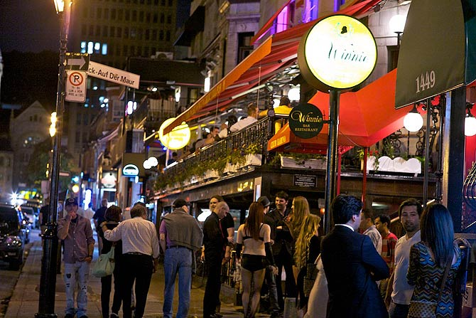 Crescent street in downtown offers a great bar and dance scene. It is a popular  watering hole of the English speaking Montreal. There are other areas that are much more popular with the Montreal's French-Canadians.