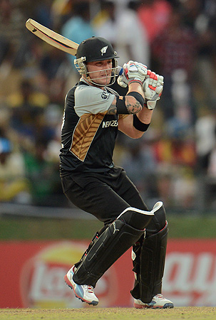 New Zealand's Brendon McCullum hits out during the Twenty20 World Cup Super 8 cricket match against the West Indies at Pallekele, Sri Lanka October 1. - Photo by Reuters