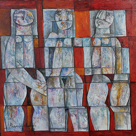 Artist: Farrukh Shahab ? Females in Cubic Form. Oil on canvas.