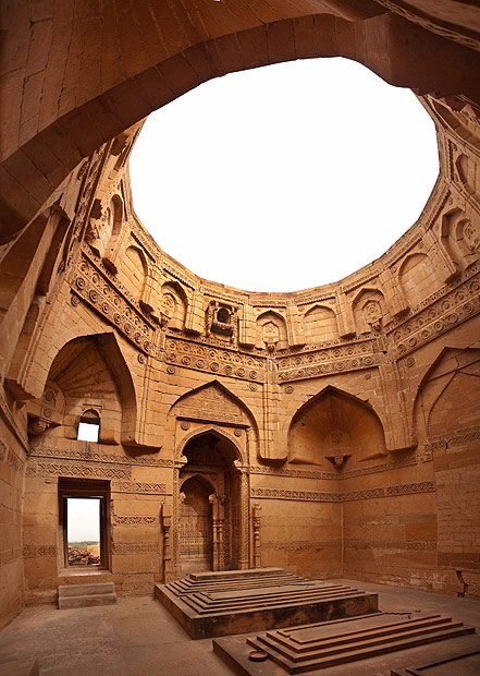 An internal view of the dome-less tomb of Jam Nindo. Archealogist Dr. Ahmed Hassan Dani says that it is the only example of Sindhi-Islamic art in the whole subcontinent. [Image is a stitch of 4 photographs] - Photo by Nadir Siddiqi/Dawn.com